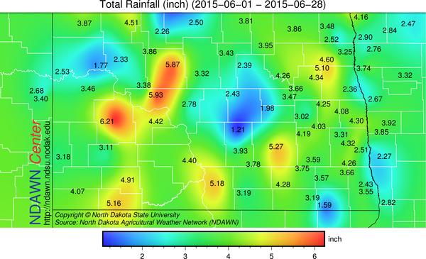 Total Rainfall from June 1 through June 28, 2015