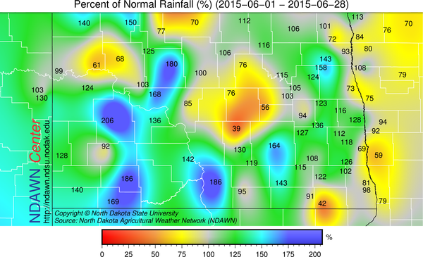 "Percent of ""Normal"" for June 1 through June 28"