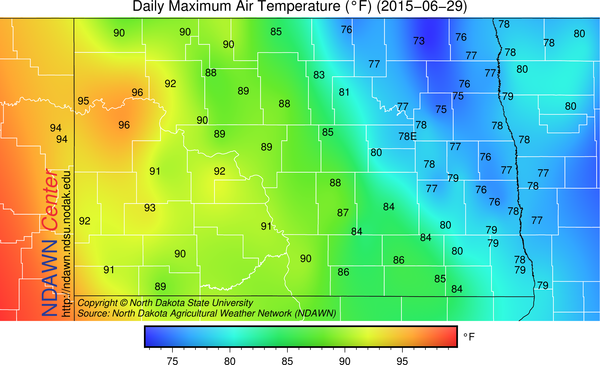 NDAWN Maximums on June 29, 2015