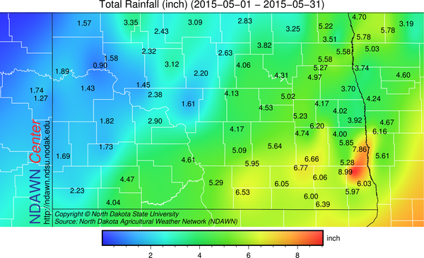 May 2015 Rain Totals from the North Dakota Agricultural Weather Network