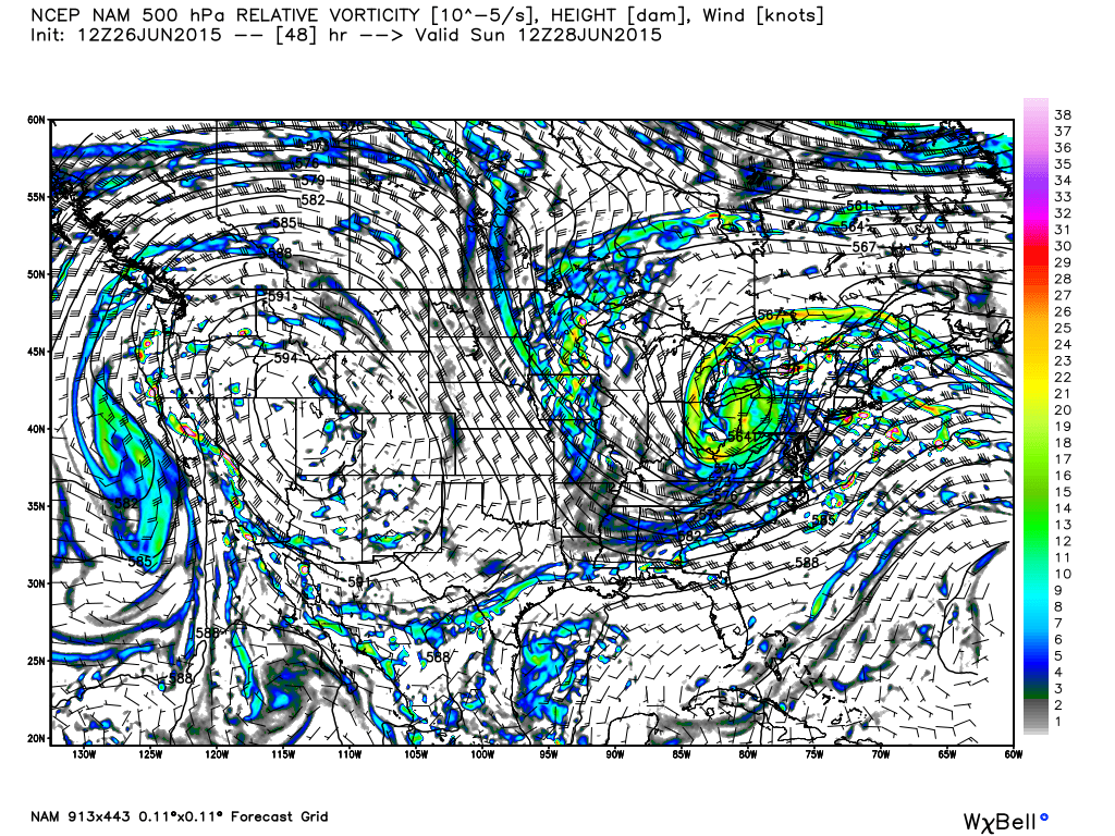 Projected 500 mb Height/Vorticity for Sunday, June 28, 2015 at 7:00 AM