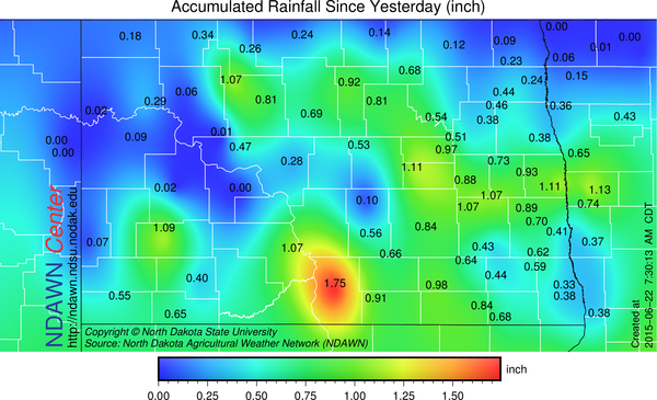 Rain totals June 21 through early June 22, 2015