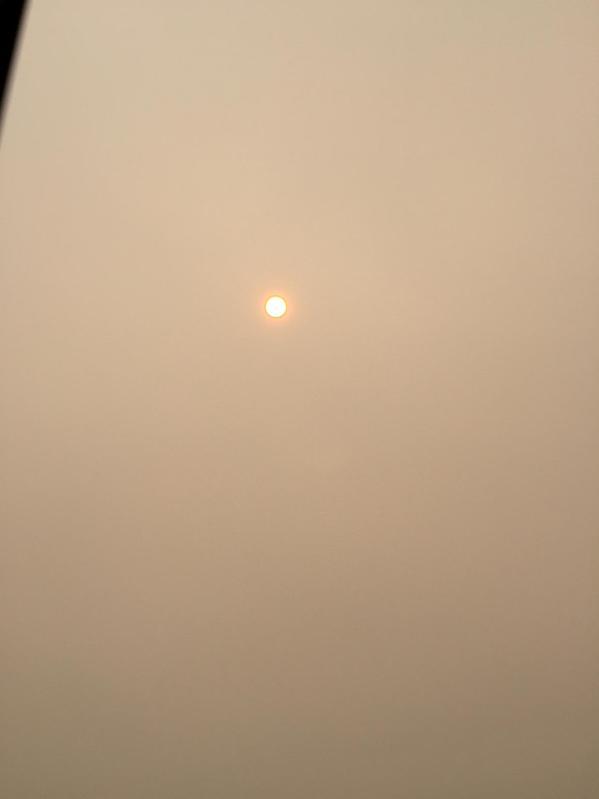 Faint Sun Disk through the Smoke on June 29, 2015