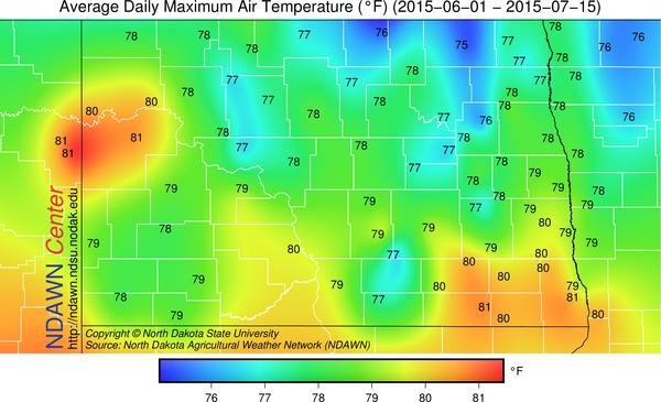 Average maximum temperature from June 1 through July 15