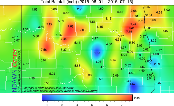 Total Rainfall from June 1 through July 15