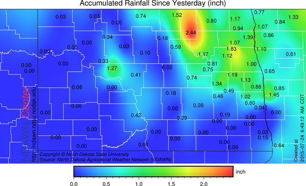 Rainfall from July 23 through July 24 at 7:00 AM