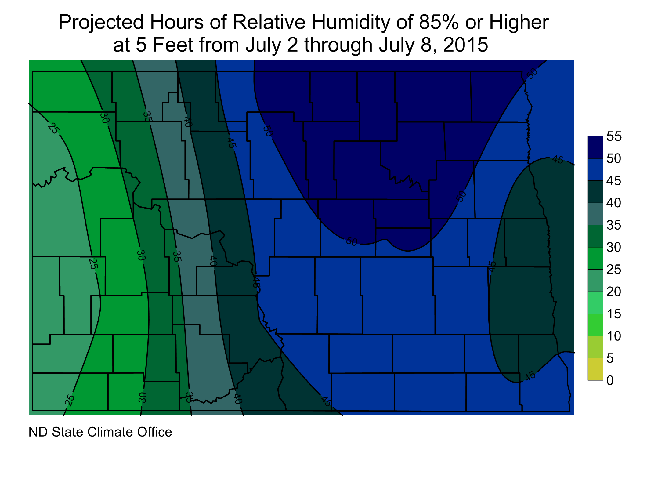 Figure 2.  Projected Hours of RH of 85% or Higher