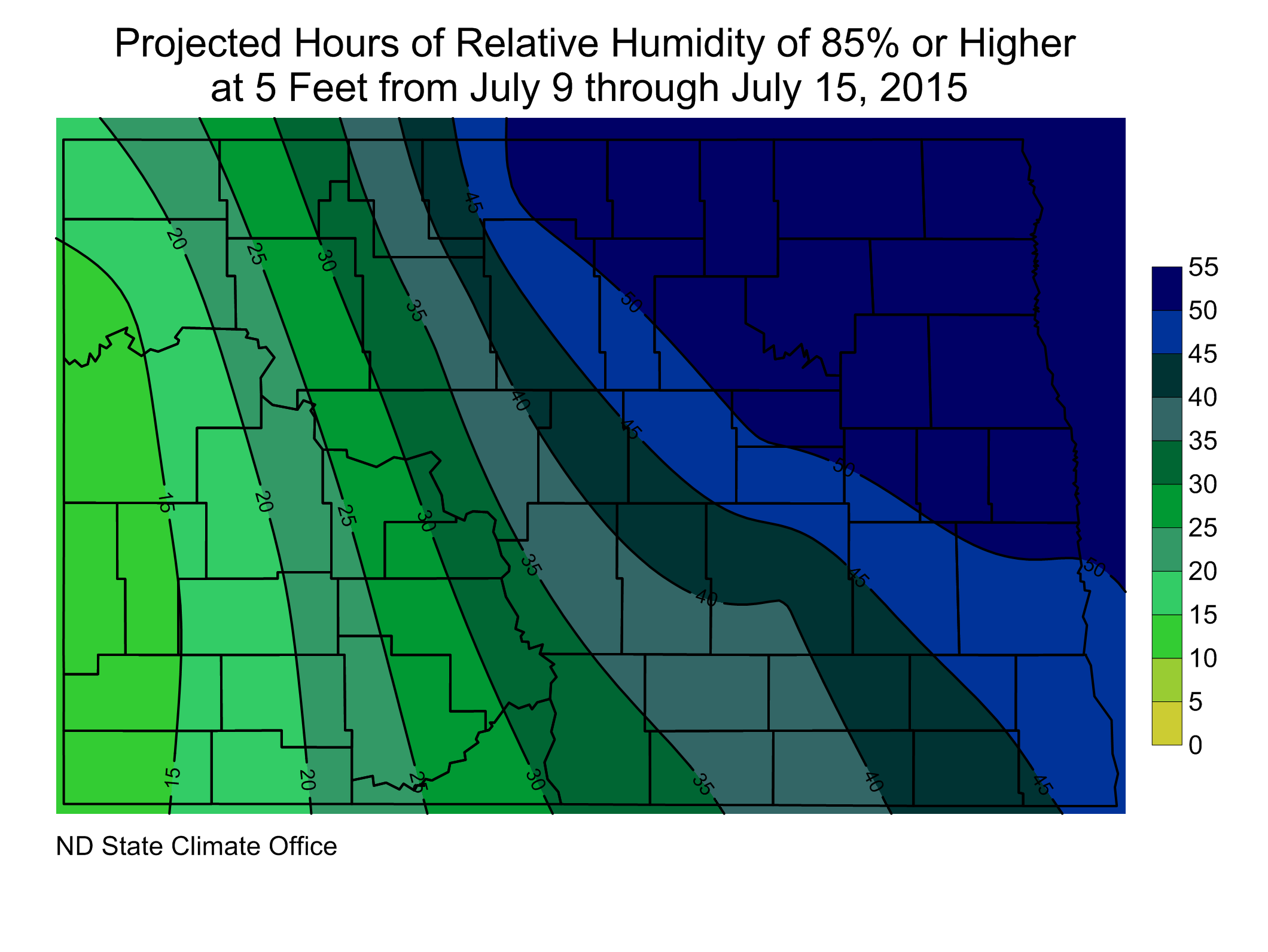 Projected Hours of RH of 85% or Higher at 5 feet from July 9 through July 15, 2015
