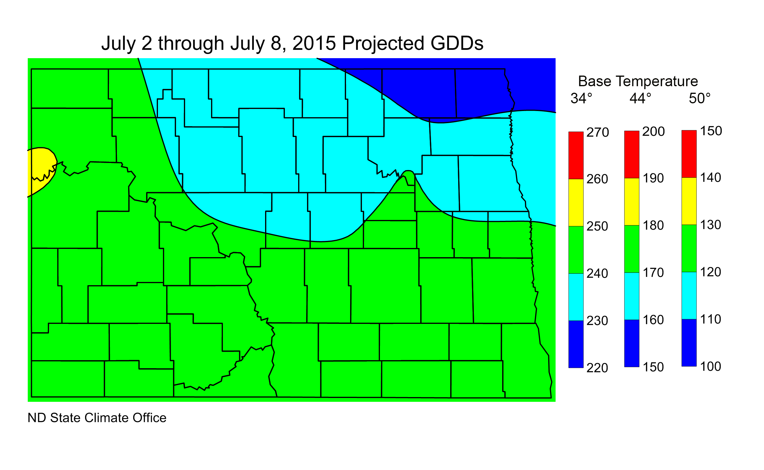 Figure 3.  Estimated Growing Degree Days for the period from July 2 to July 8