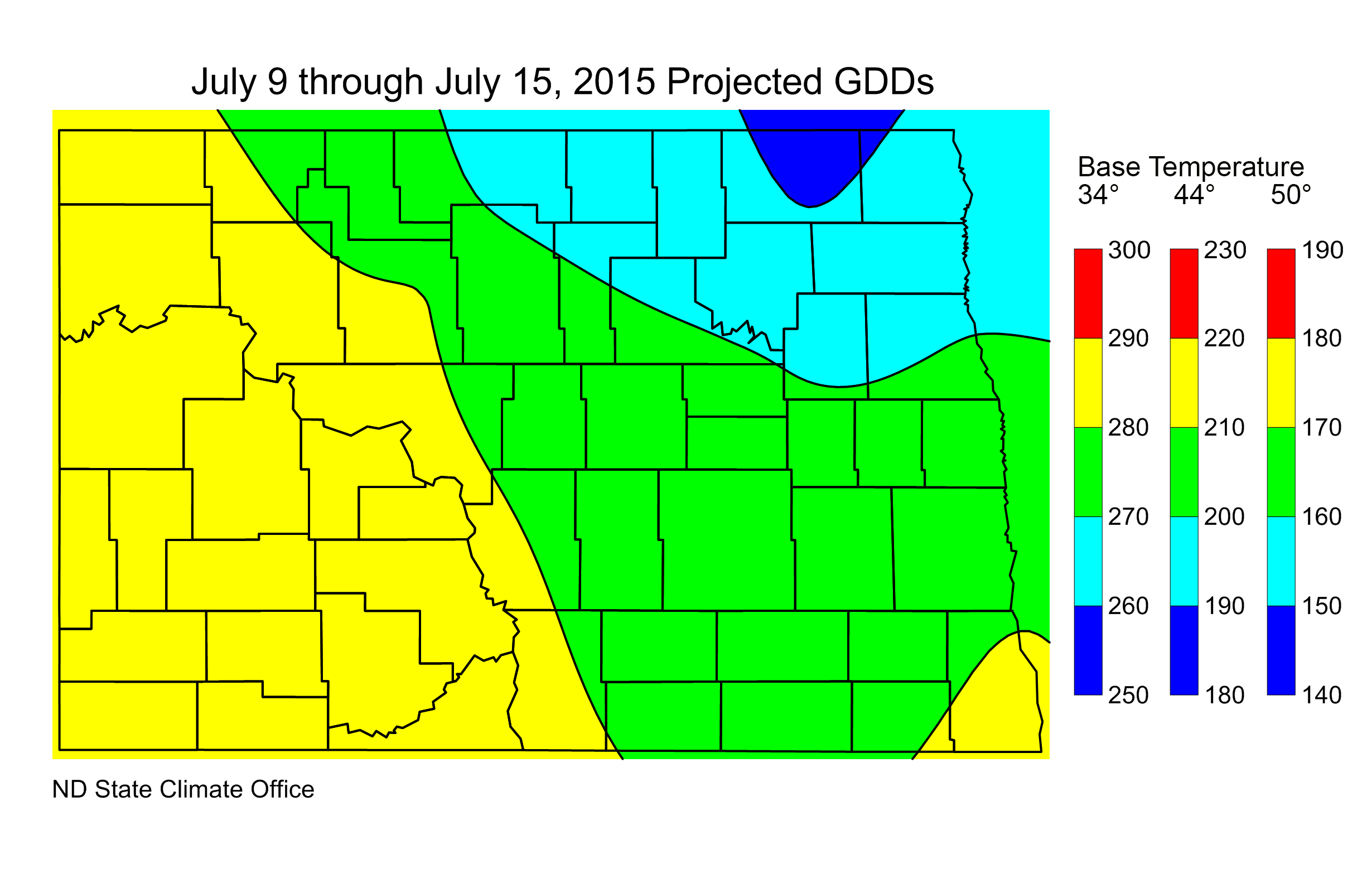 Figure 3.  Projected Growing Degree Days (units) from July 9-15, 2015