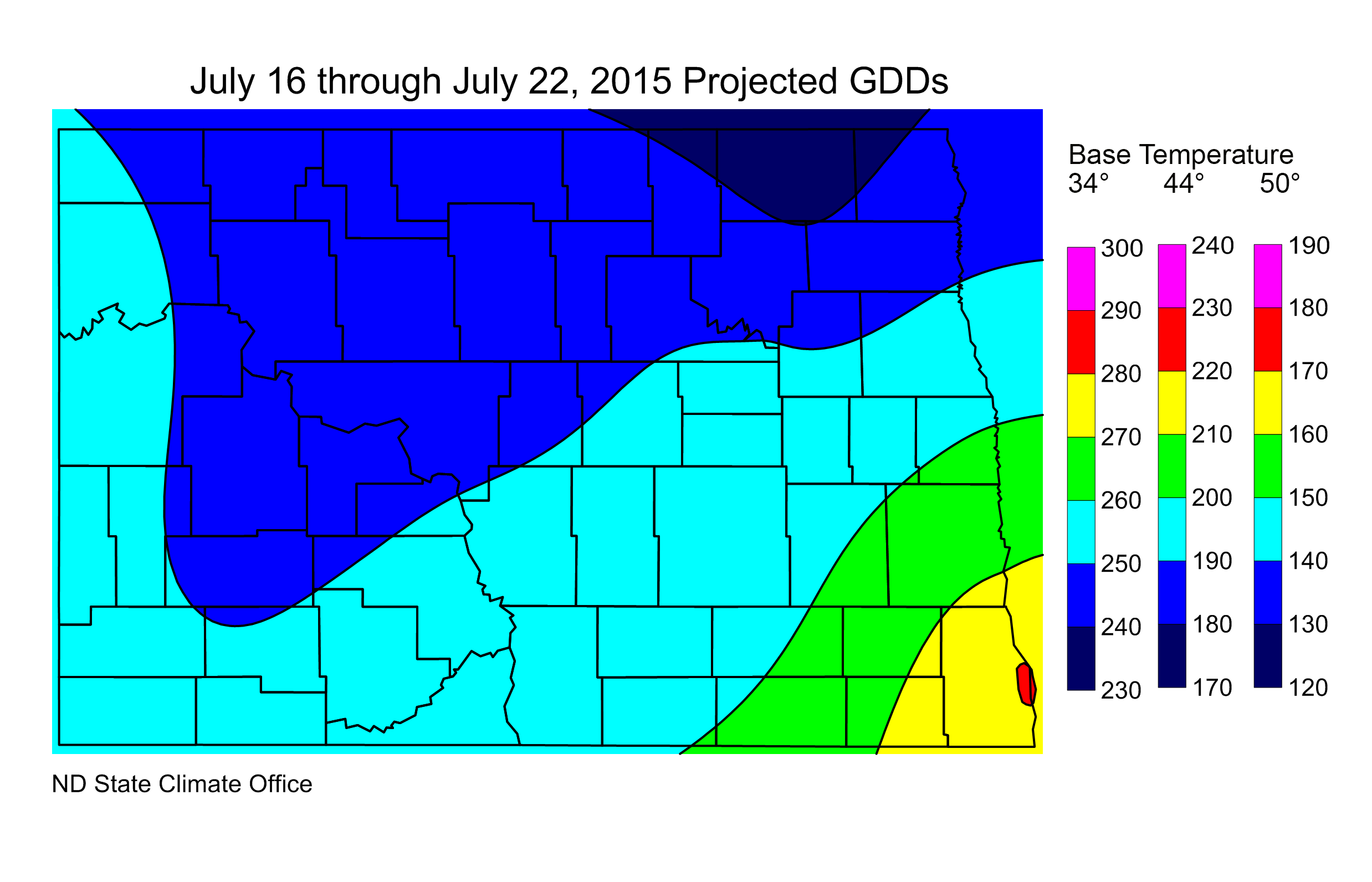 Figure 2:  Projected Growing Degree Days from July 16 through July 22, 2015