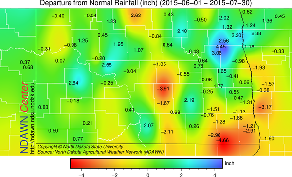 Precipitation Departure from Average from June 1 through July 30