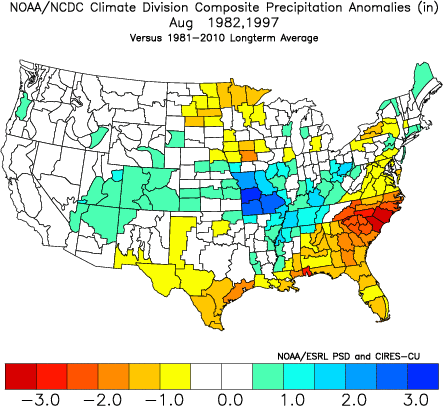 August 1982 and August 1997 Averaged Precipitation Anomalies
