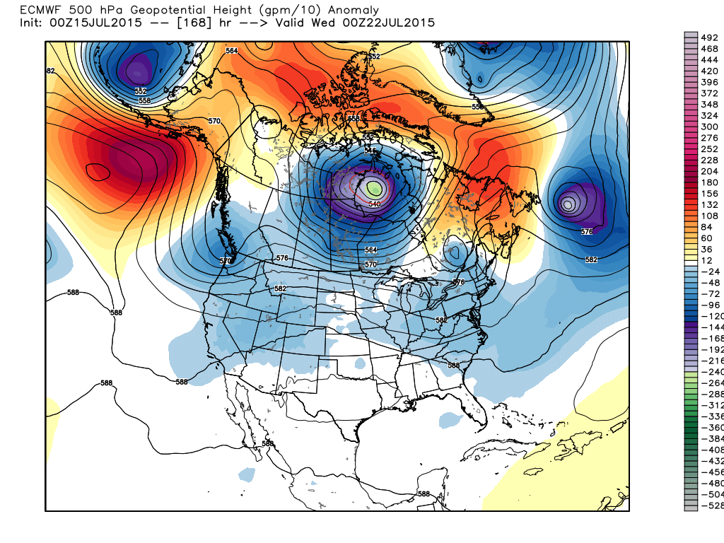 500 mb Height / Anomalies for 00Z July 22, 2015 (WMO-Essential ECMWF