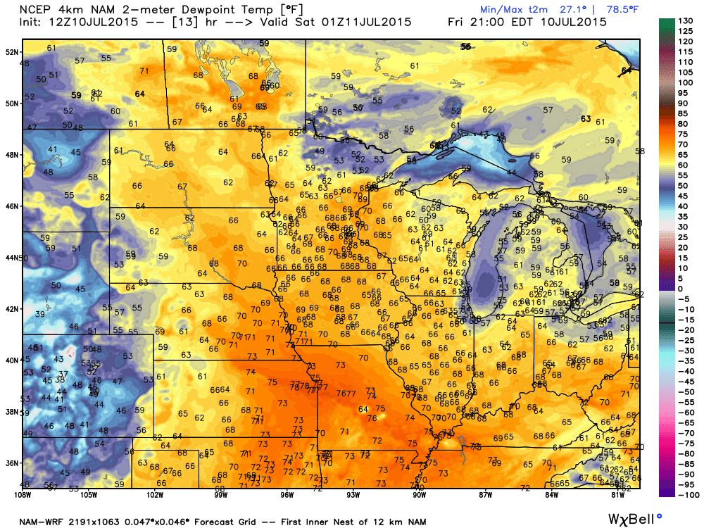 Dew Point Temperatures later today (Friday, July 10, 2015)