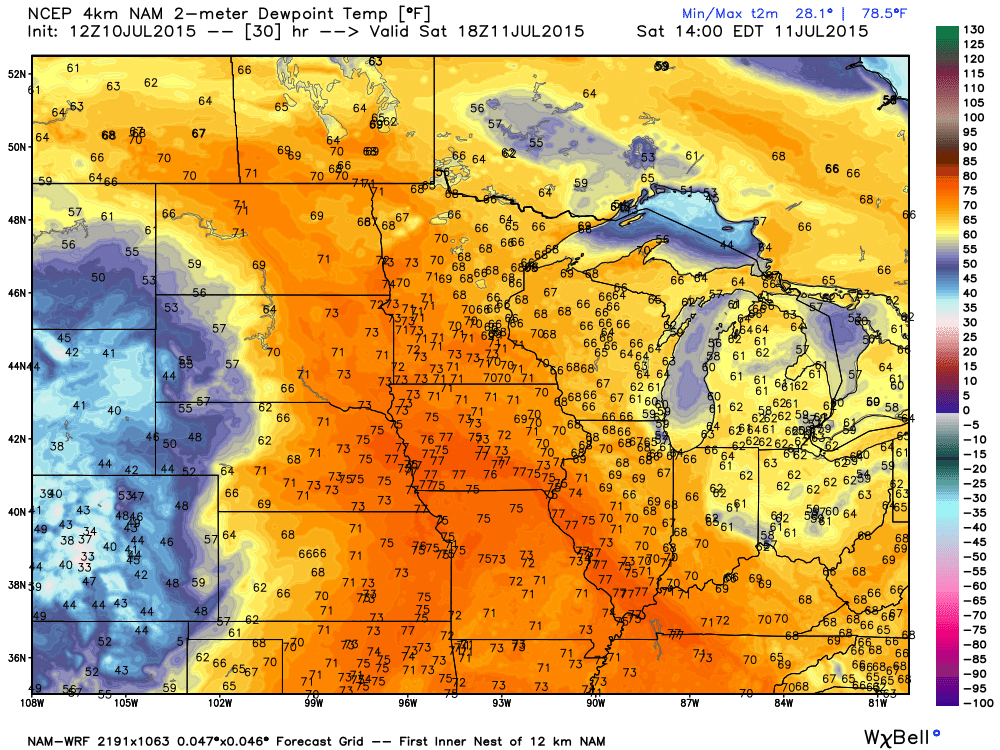 Saturday, July 11, 2015 Dew point projection
