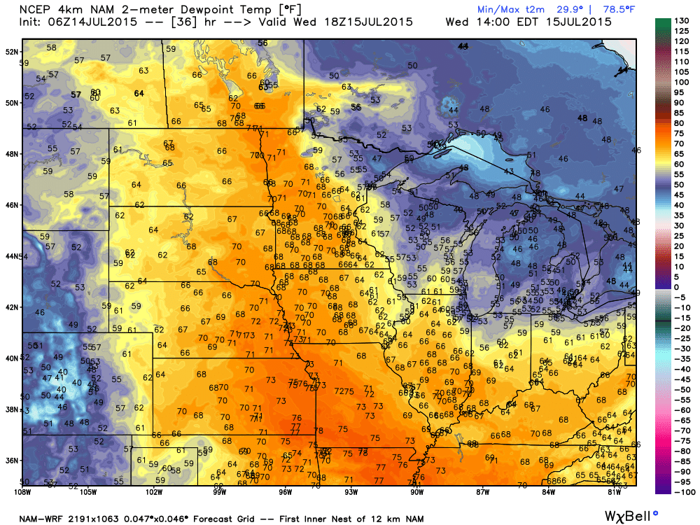 Projected Dew Points Wednesday, July 15, 2015