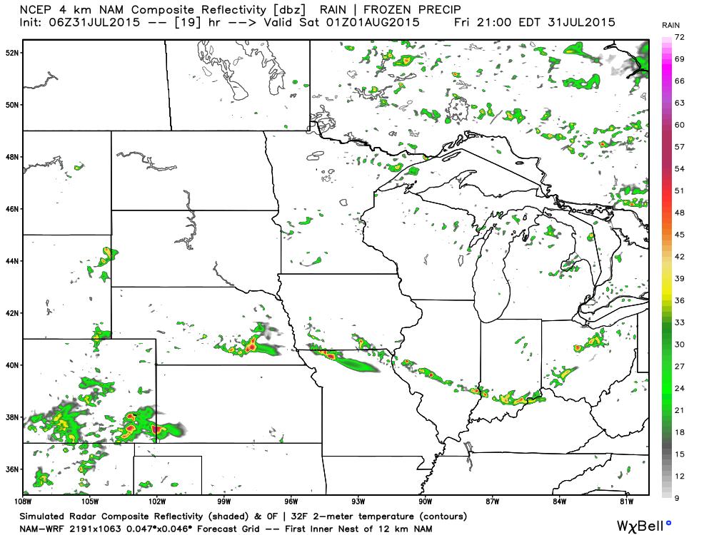 Friday 4:00 PM CDT Projected Radar