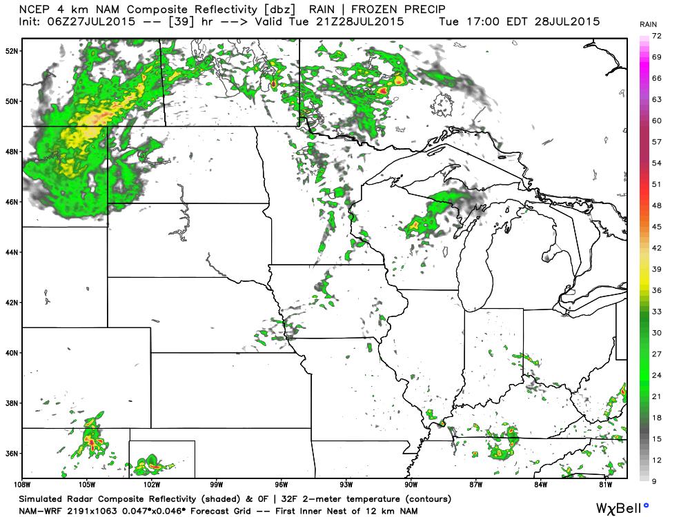 Tuesday, July 28, 4:00 PM CDT simulated Radar