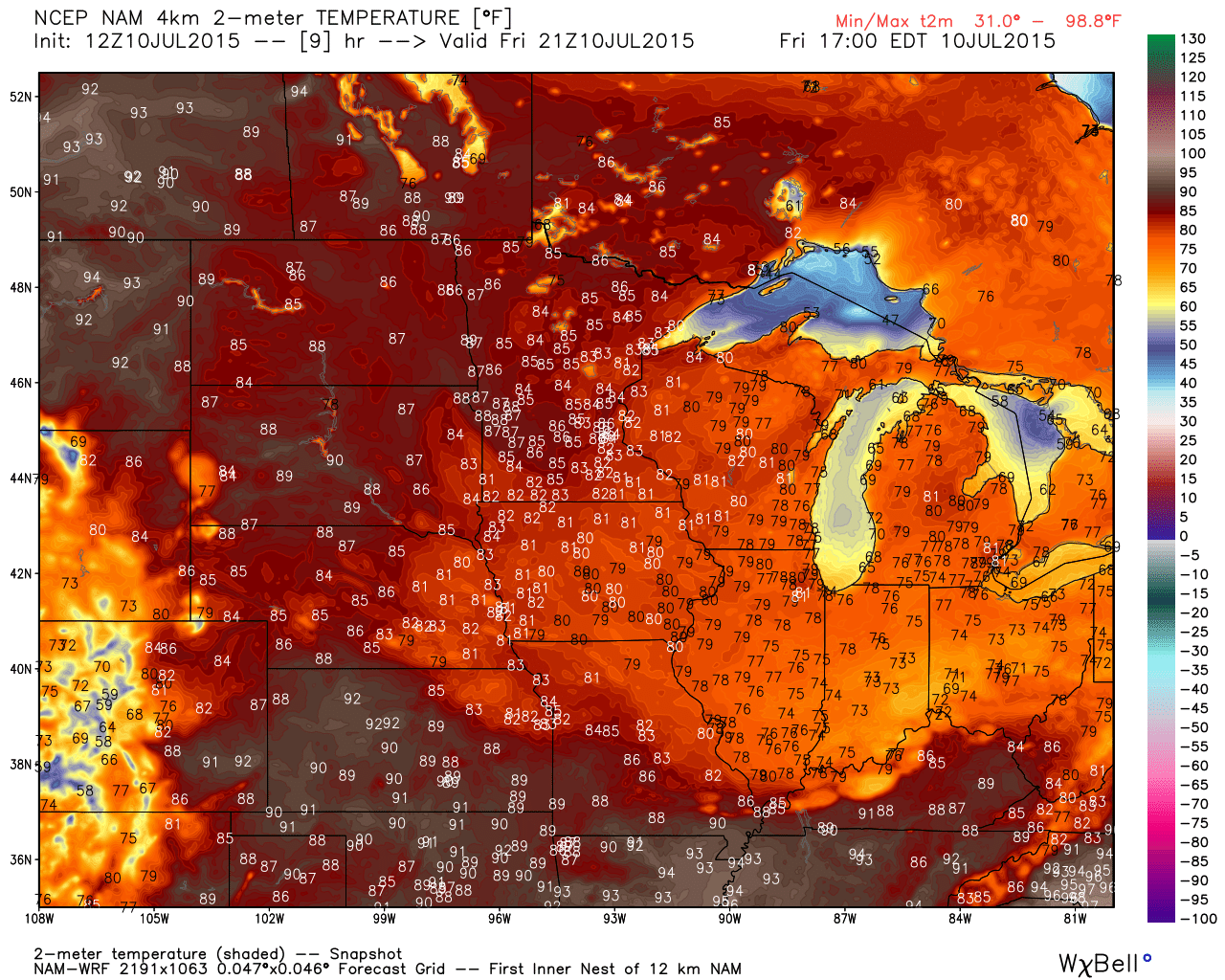 Maximum Temperature Projections  for Friday, July 10, 2015