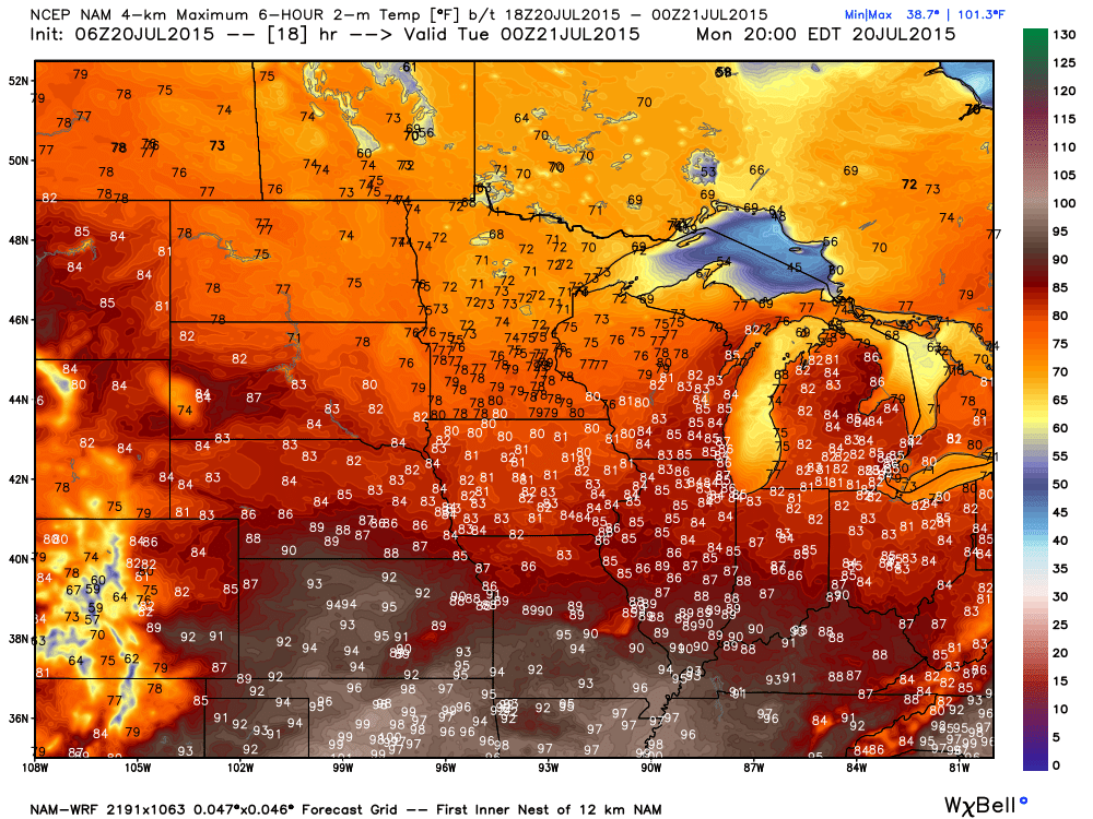 Projected Monday, July 20, 2015 Maximums