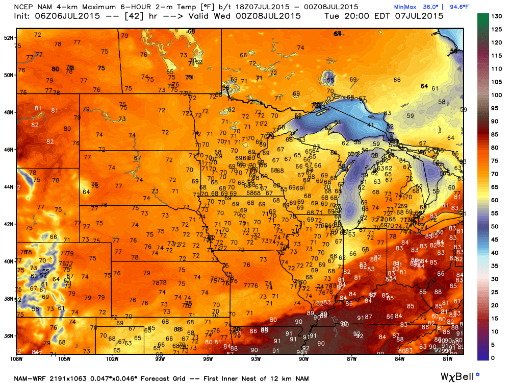 Tuesday Projected maximums