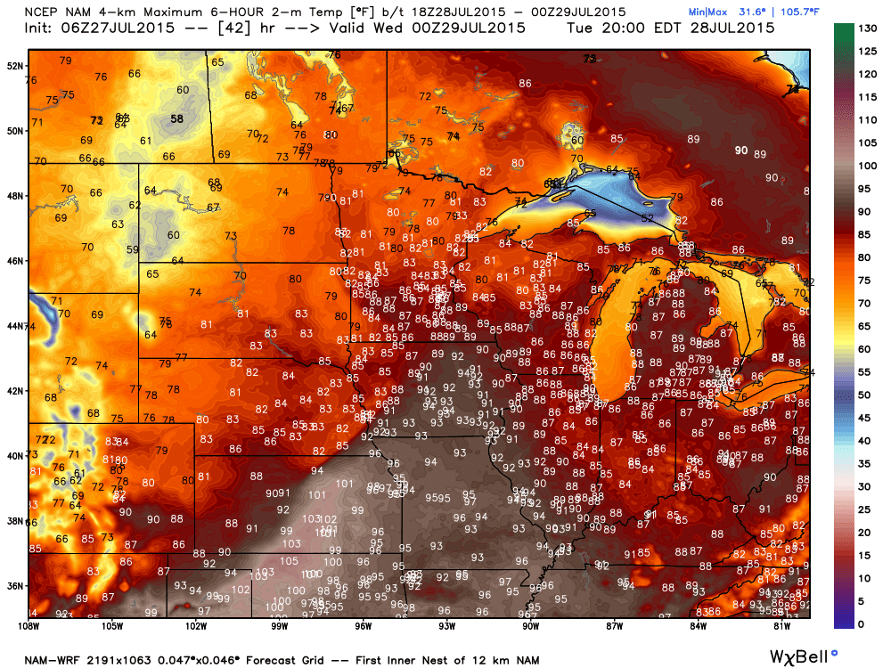 Tuesday PM Maximums