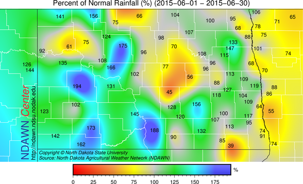 June 2015 Percent of Average Rainfall
