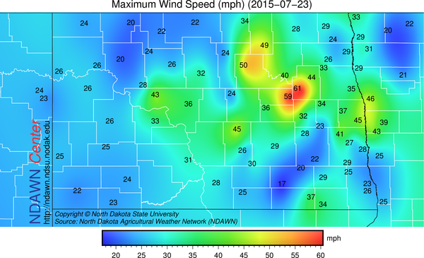 Maximum Wind Speed on July 23, 2015