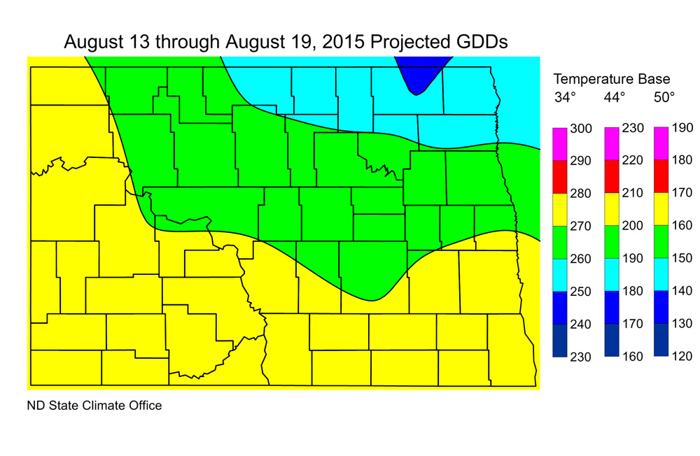 Figure 2. Projected Growing Degree Days from August 13 through August 19, 2015