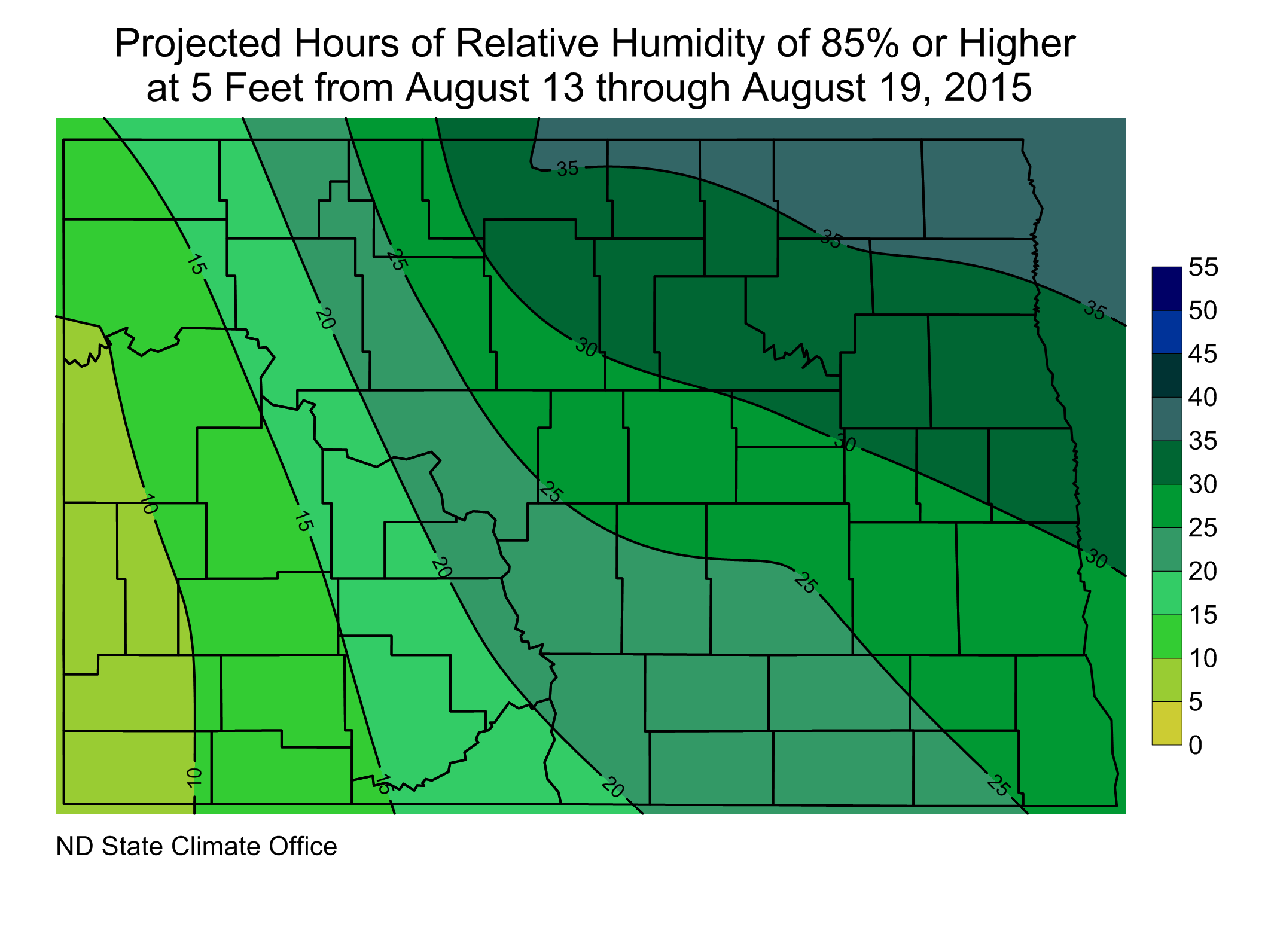 Figure 3. Projected Hours at/above 85% Relative Humidity from August 13 through August 19, 2015