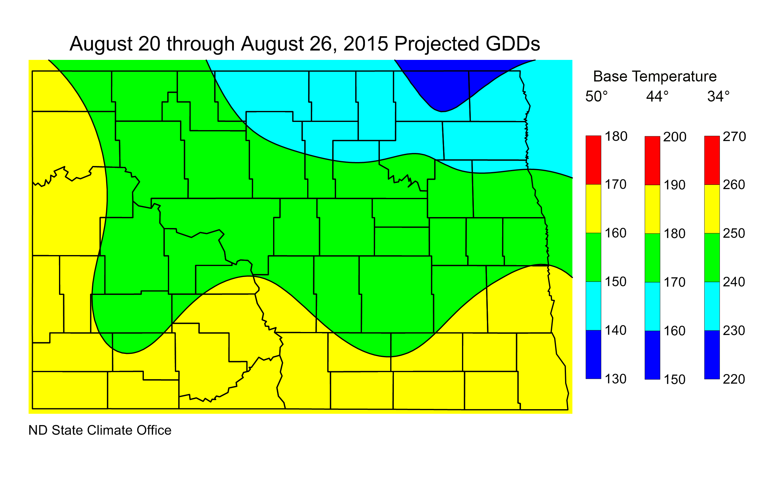 Figure 2. Projected Growing Degree Days from August 20 through August 26, 2015