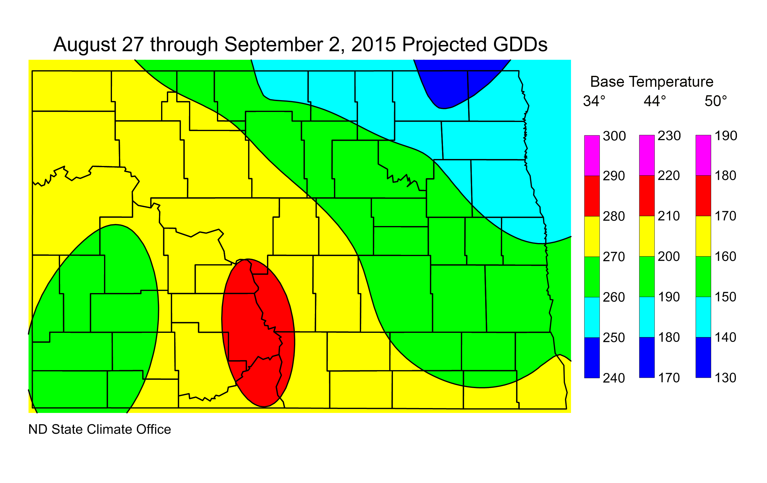 Figure 2. Projected Growing Degree Days from August 27 through September 2, 2015