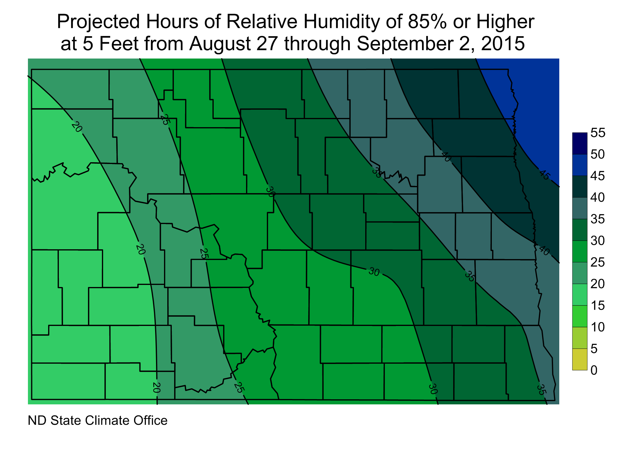 Figure 3. Projected Hours at/above 85% Relative Humidity from August 27 through September 2, 2015
