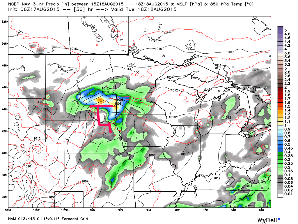North American Model (NAM) 18Z Tuesday August 18, 2015 projected surface analysis and 6 hour rainfall