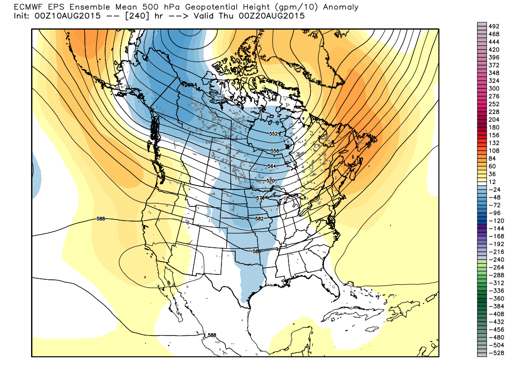 Projected ECMWF WMO Essential 500 mb Height/ Anomalies for 00Z Thursday, August 20, 2015