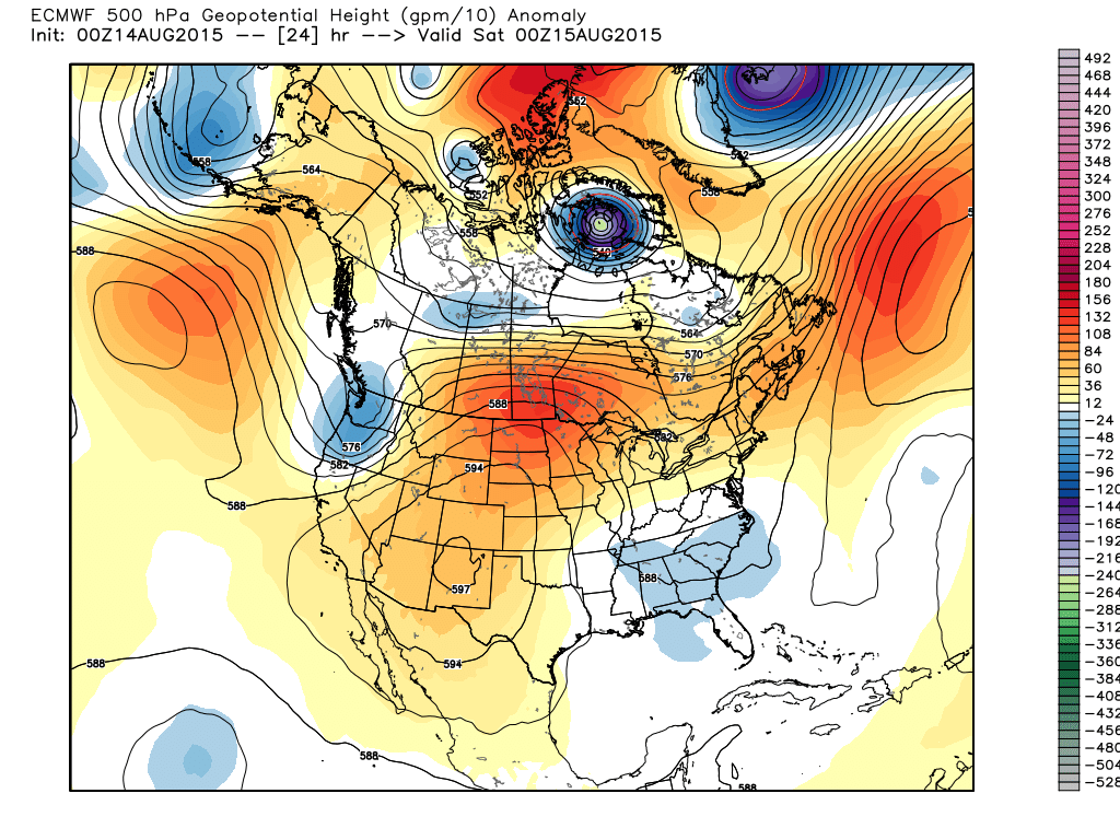 500 mb Heights/Anomalies projected for 00Z Saturday August 15.  ECMWF WMO-essential