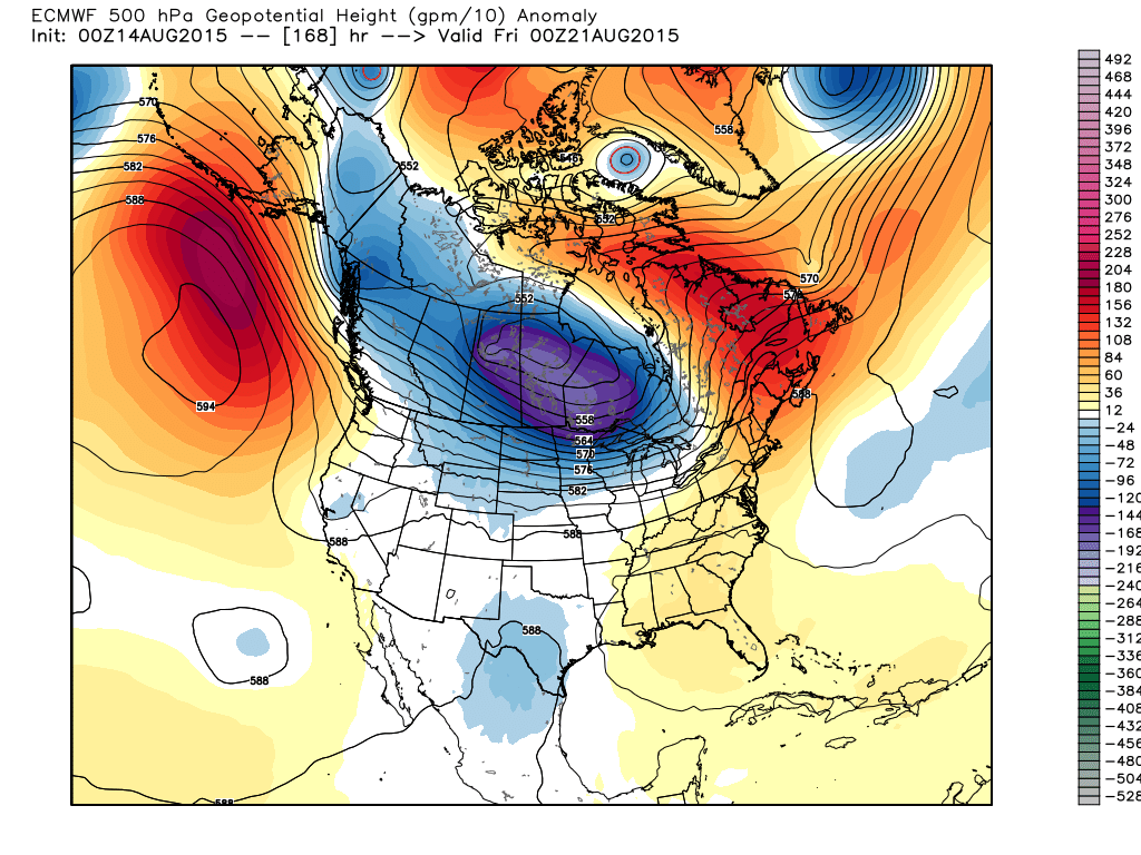 00Z August 21 Projected 500 mb Anomalies and heights
