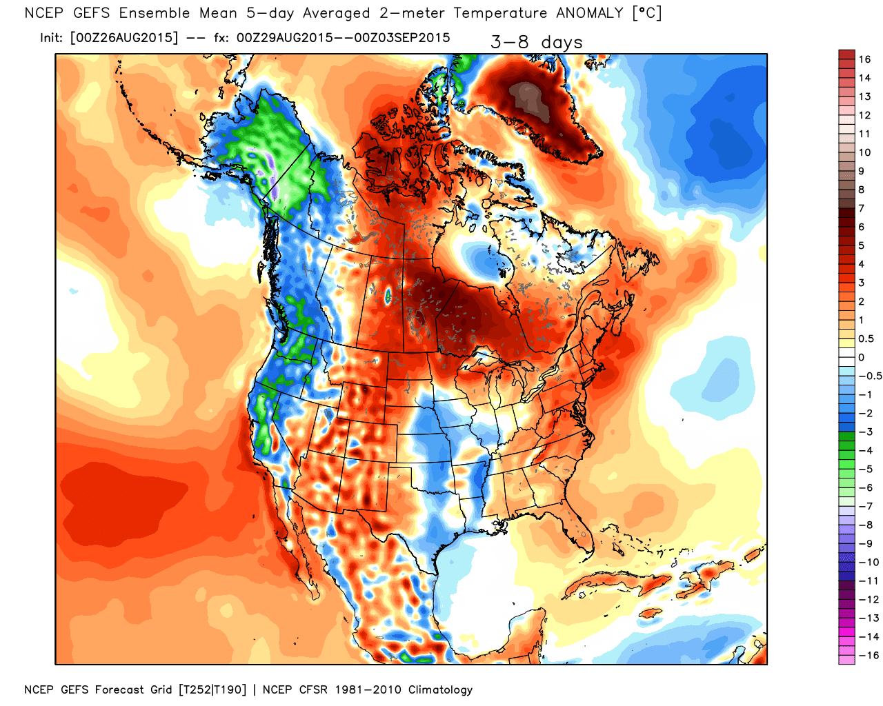 Figure 1. Projected Temperature Anomalies from average off the Global Forecast System Guidance from 00Z August 29 to 00Z September 3.      Use with permission from Weatherbell Analytics