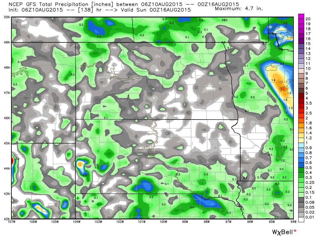 Precipitation through Saturday from the GFS guidance
