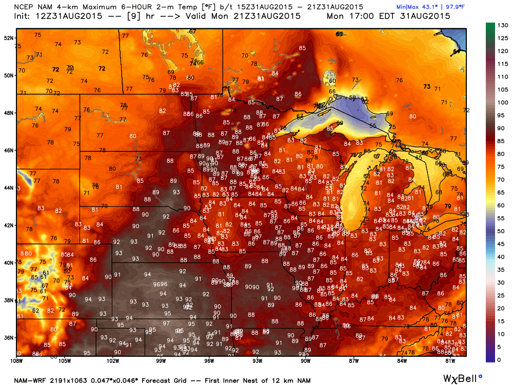 Projected Maximums for Monday, August 31, 2015