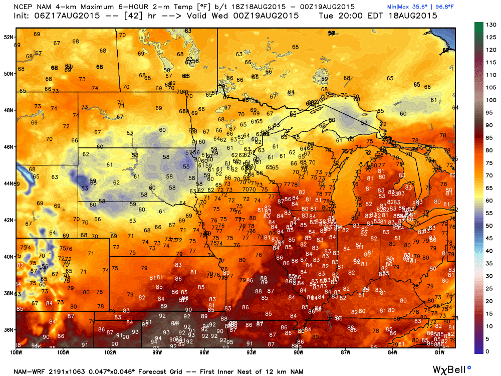 Tuesday Projected Maximums by WRF-NAM 4 km Guidance