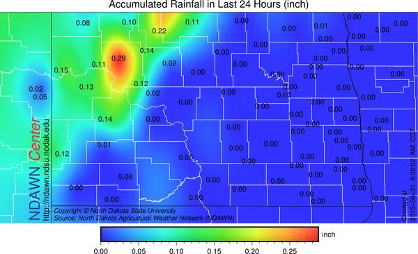 24 hour rainfall through 8:30 AM Monday, August 31, 2015