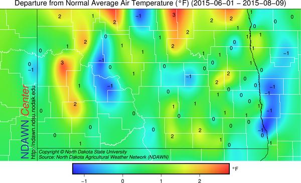 Average Temperature June 1 through August 9