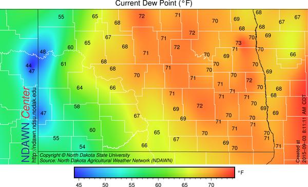 7:10 AM Dew Point Temperatures