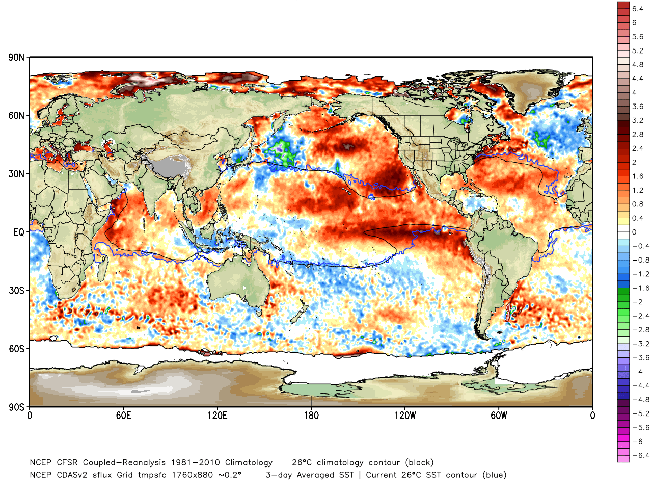 Figure 1. Sea Surface Temperature Anomalies as of September 8, 2015