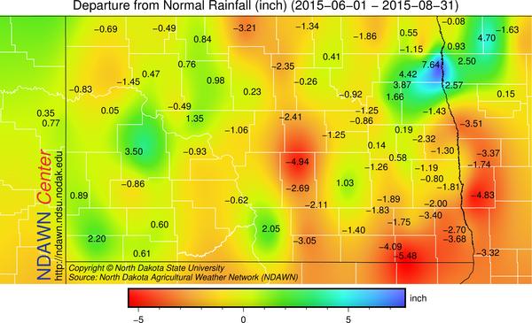 Departure from average precipitation June 1 through August 31 2015