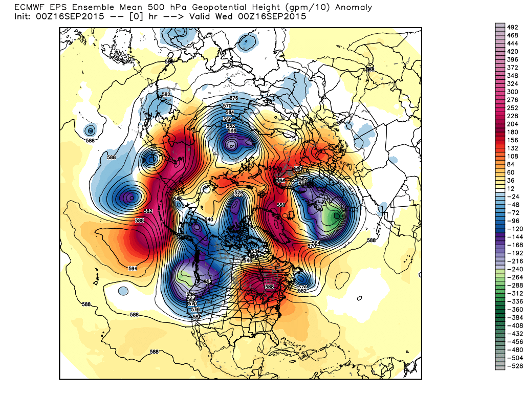 500 mb Heights / Anomalies from 00Z September 16, 2015