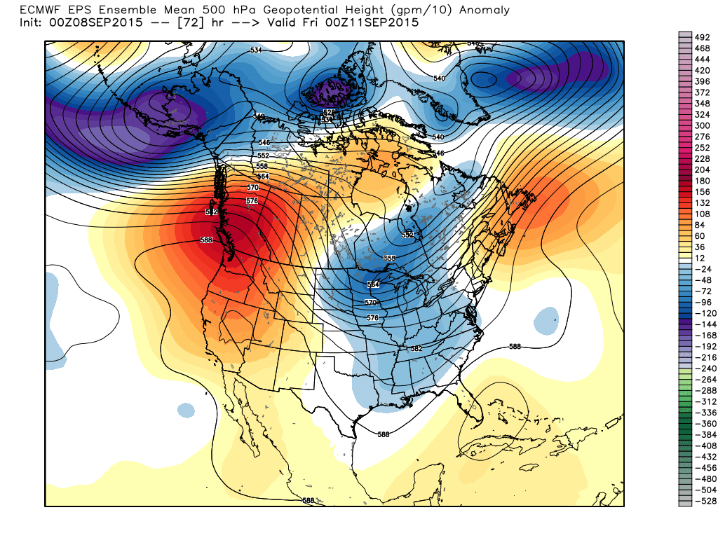 Thursday, September 10, 2015, 7:00 PM 500 mb Height/Anomalies Projection