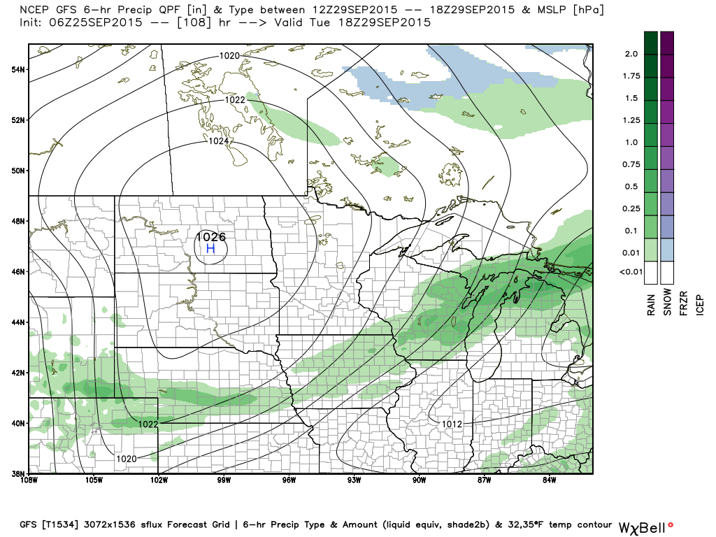 1PM Tuesday September 29, 2015 GFS Projected Surface Analysis